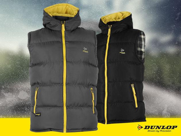 Dunlop férfi kapucnis mellény szürke és fekete színben, S-XXXL méretben, a hűvös őszi napokra