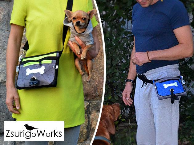 Kutyasétáltató öv és válltáska - minden szükséges holmi elfér benne a tárcádtól a kutyagumi zacskóig