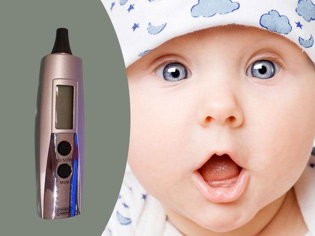 Quigg digitális fülhőmérő / lázmérő nagy LCD kijelzővel, midnössze 1 mp-es mérési idővel