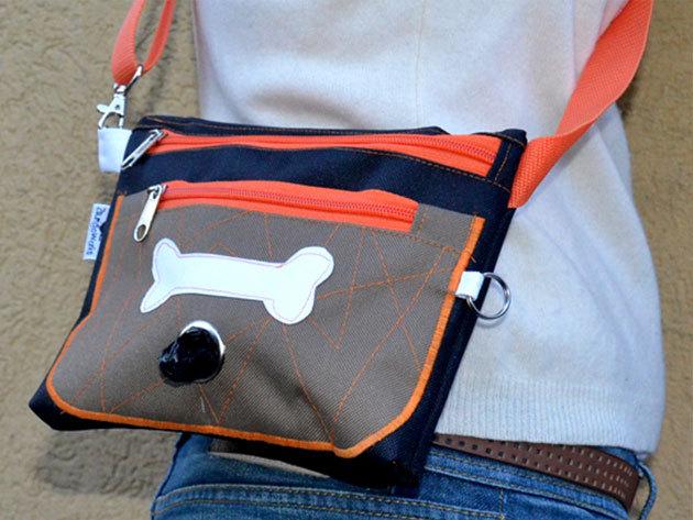 Kutyasétáltató öv és válltáska - narancs-khaki