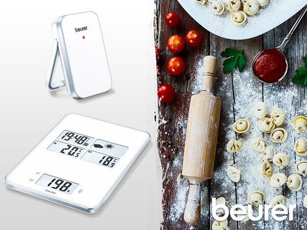 Beurer KS80 multifunkciós konyhai mérleg, beépített időjárásjelző állomással, ébresztőóra funkcióval - 3 év garancia