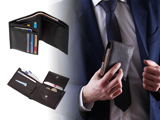 Bőr pénztárcák fekete színben, változatos fazonban, prkatikus zsebekkel és kártyatartókkal