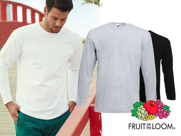 Fruit of the Loom hosszú ujjú férfi póló (S-XXL), 100% pamutból - fehér, fekete és szürke színben