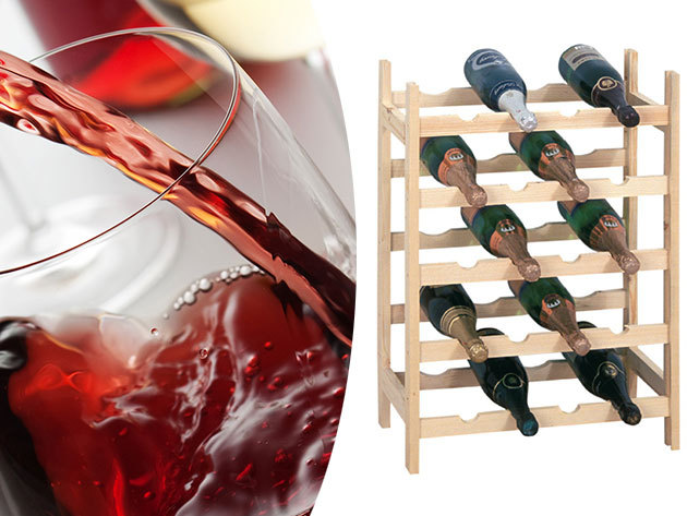 Bortartó állvány fából - férőhely 20 palack számára, hogy féltve őrzött nedűidet ideális helyen tárolhasd