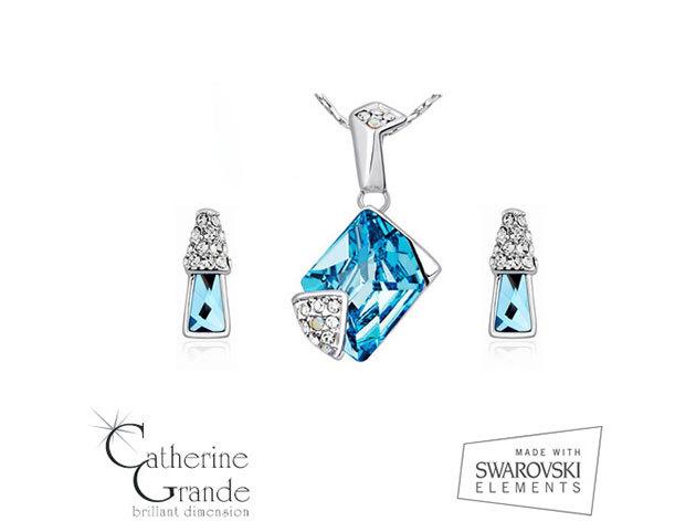 Kék tündöklés - Swarovski kristályos ékszerszett