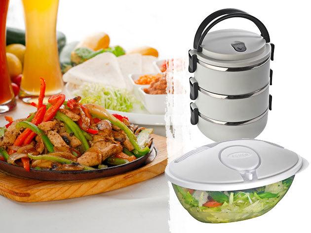 Strapabíró ételhordó edény (3 részes), valamint praktikus salátás doboz öntet tartó rekesszel és villával