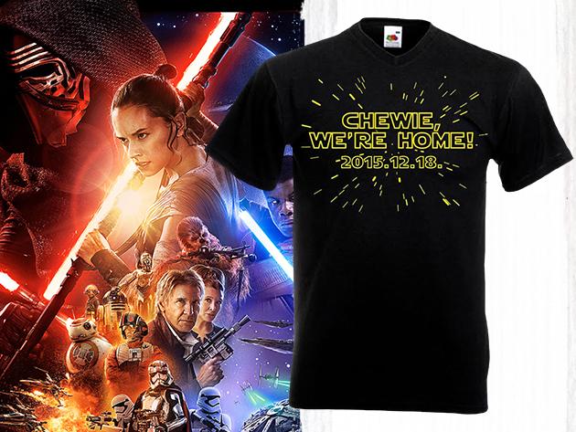 """Star Wars premier póló az egész családnak """"Chewi, we are home"""" felirattal, a film rajongóinak - Készülsz már a bemutatóra?"""