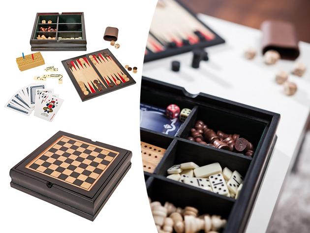 Társasjáték szett, 5 féle játszmához: sakk, ostáblajáték, dominó, kártya - és kockajátékok, elegáns fadobozba csomagolva