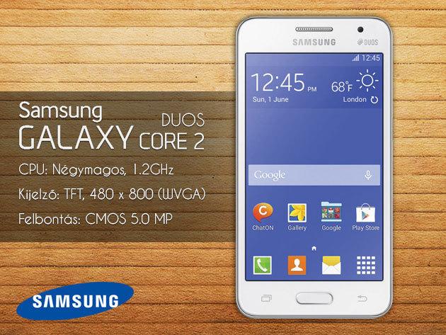 Samsung Galaxy Core 2 SIM kártyás független mobiltelefon + tok + üvegfólia felrakással + teljes gyári tartozék, 1 év garanciával