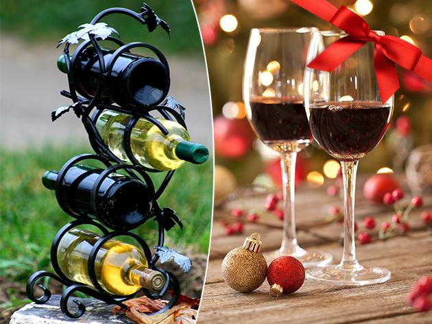 Kovácsoltvas bortartó, szőlőleveles dekorációval, 4 palack számára - igényes, egyedi, dekoratív kiegészítő