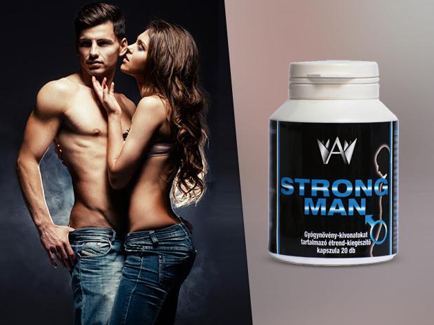 Strong Man teljesítménynövelő kapszula csak férfiaknak, természetes összetevőkből, gyógynövény kivonatokkal (20 db/ doboz)
