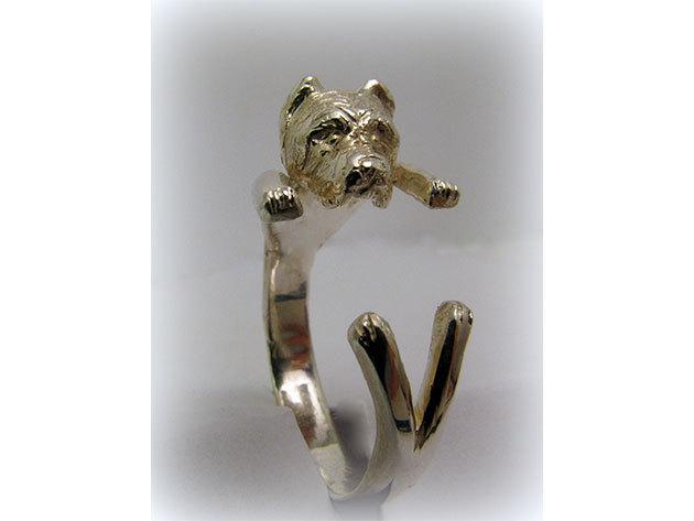 Kutyás ezüst gyűrű - Vágott fülű Canecorso