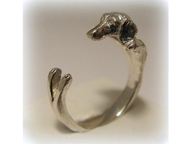Kutyás ezüst gyűrű - Tacskó