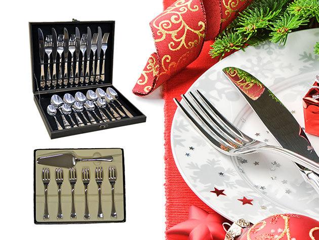 Evőeszköz készletek prémium minőségben, rozsdamentes acélból, díszdobozban - 24 részes (kés, villa, kanál, kiskanál) szettek és 7 db-os süteményes villa + tortavágó szett
