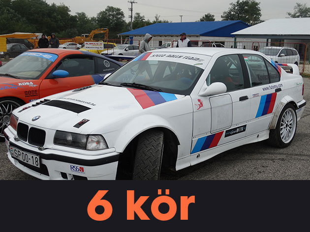"""6 kör vezetés + 1 kör élményautózás (profi sofőrrel) egy BMW E36 """"F"""" csoportos rally versenyautóval a Kakucs-Ringen"""