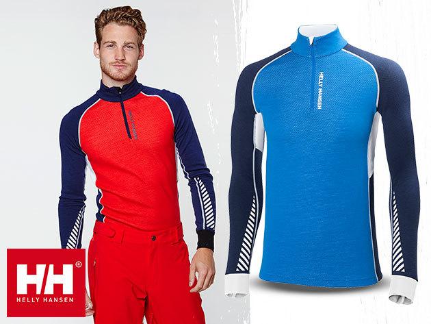 Helly Hansen HH WARM FLOW HIGH NECK 1/2 ZIP férfi aláöltözet felsőrész - Lifa® Stay Dry technológia, 100%-os tisztaságú merinó gyapjú és technikai anyag kombinációja