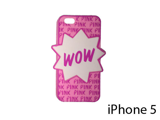 WOW feliratú szilikon telefontok iPhone 5-re (rózsaszín)