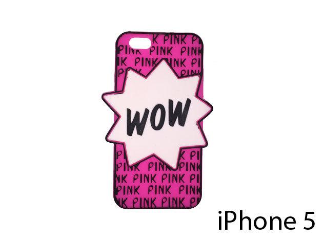 WOW feliratú szilikon telefontok iPhone 5-re (ciklámen)