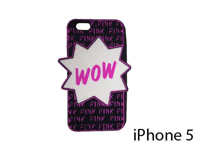 WOW feliratú szilikon telefontok iPhone 5-re (fekete)