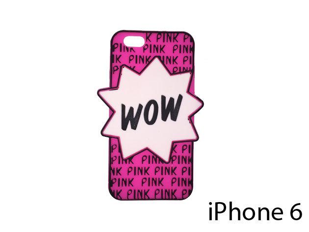 WOW feliratú szilikon telefontok iPhone 6-ra (ciklámen)