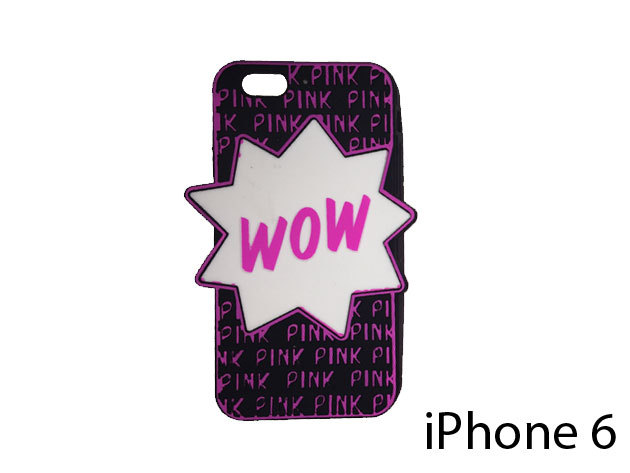 WOW feliratú szilikon telefontok iPhone 6-ra  (fekete)