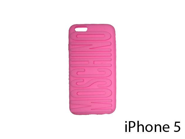 Moschino feliratú szilikon telefontok iPhone 5-re (rózsaszín)