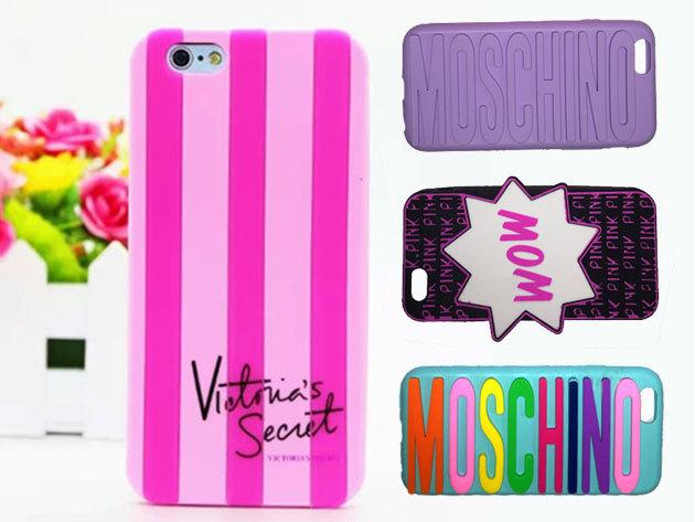 Divatos szilikontokok iPhone 5 és 6 készülékekre Victoria Secret, Moschino és WOW felirattal