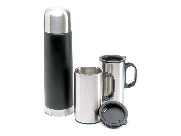 Duplafalú rozsdamentes acél termosz (500 ml) 2 bögrével (200 ml) | TRAM - (kc2694-03)