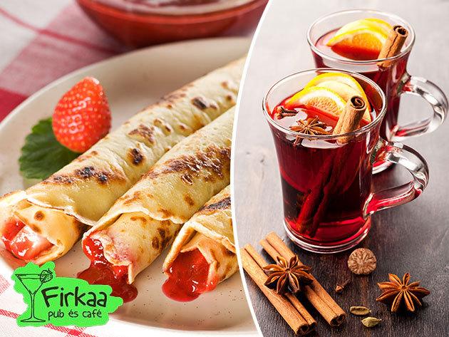 Palacsinta menü 2 főre: 5 db sós vagy édes rántott, ill. panír nélküli palacsinta + 2x2 dl forralt bor / Firkaa Pub és Café, VII. ker.