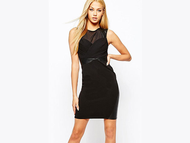 Bőrbetétes egyedi ruha fekete színben