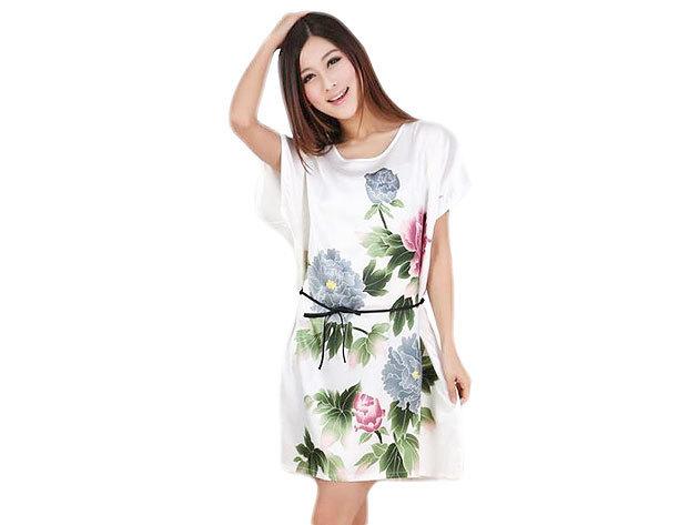 Selymes hálóing fehér színben virágos mintával