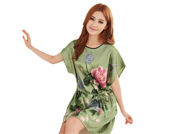 Selymes hálóing zöld színben virágos mintával