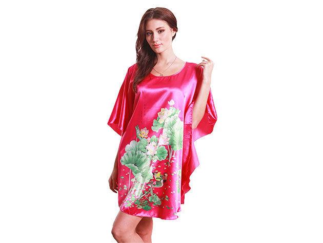 Selymes hálóing piros színben virágos mintával