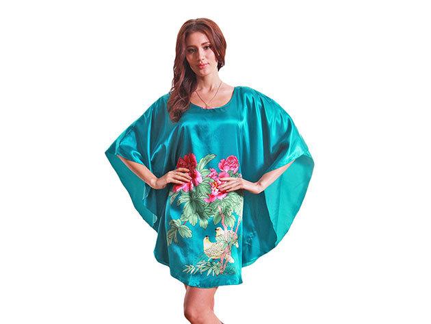 Selymes hálóing türkiz színben virágos mintával