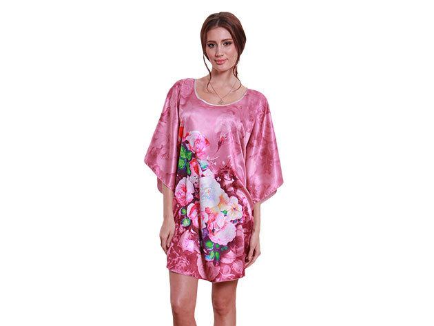 Selymes hálóing pink színben virágos mintával
