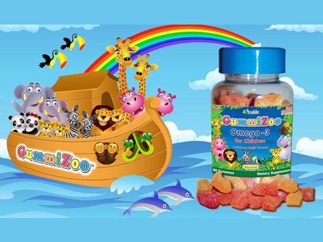 GummiZoo™ Omega-3 gumivitamin természetes (vegán) gyümölcs ízű étrend-kiegészítő gyermekeknek (30 db/csomag)
