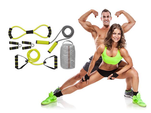 Fitnesz szett: ugrókötél, gumikötél, expander és 2 db marokerősítő, praktikus tárolóban, akár otthoni vagy kültéri edzésekhez