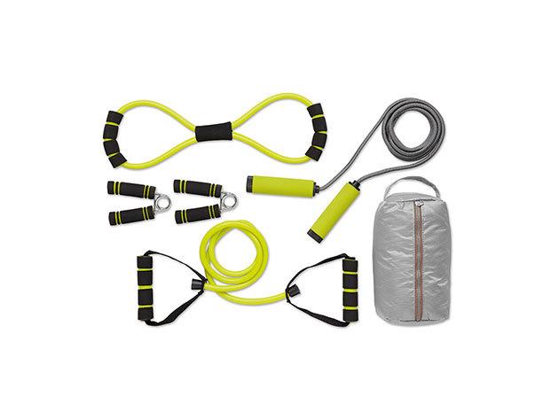 Fitnesz szett: ugrókötél, gumikötél, expander és 2 db marokerősítő, praktikus tárolóban