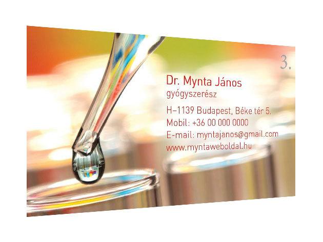 Laminált névjegykártya 200 db 300 g papír laminált - 4+4 szín (kétoldalas)