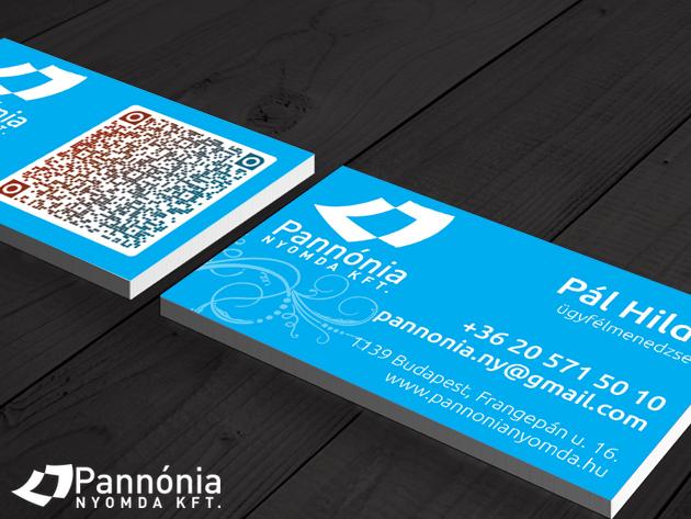 Névjegykártya tervezés és nyomtatás - 200 db 90×50mm színes, egy vagy kétoldalas névjegykártya AJÁNDÉKOKKAL -  Pannónia Nyomda