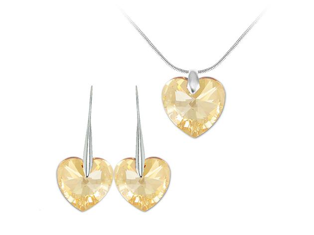 So Charm© ékszer szett szíves SWAROVSKI® ELEMENTS® medállal (arany) BS001-SN016+SE003-GOSH