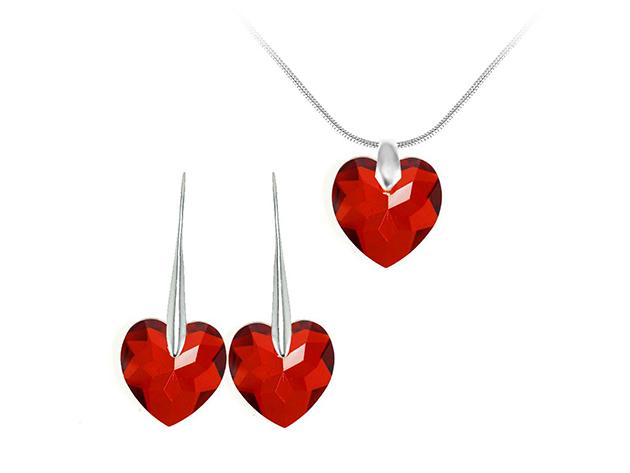 So Charm© ékszer szett szíves SWAROVSKI® ELEMENTS® medállal (piros) BS001-SN016+SE003-SIAM - AZONNAL ÁTVEHETŐ