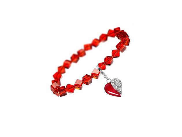 So Charm© Karkötő szíves SWAROVSKI® ELEMENTS® medállal (piros köves) BS111-SB029-CH0385