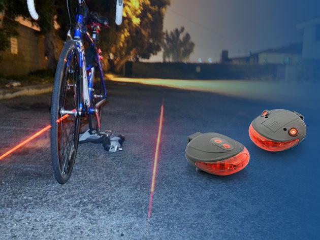Lézeres hátsó lámpa kerékpárra: 5 db LED + lézerfény, mely az aszfaltra vetíti a biztonsági sávodat