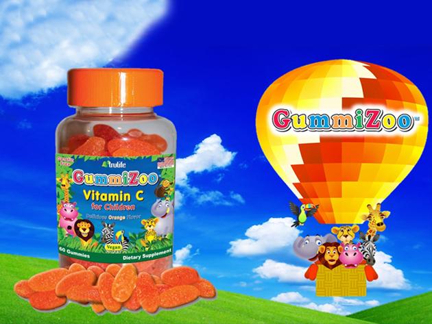 GummiZoo™ C-vitamin / gumivitamin természetes (vegán) narancs ízű étrend-kiegészítő gyermekeknek (60 db/csomag)
