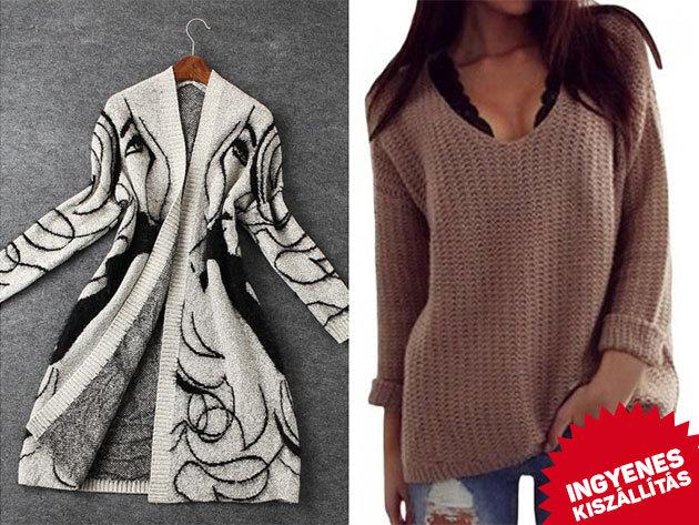 Jacquard mintás kardigán és V-nyakú oversize pulóver, díjmentes szállítással - extra puha, kényelmes, divatos viselet