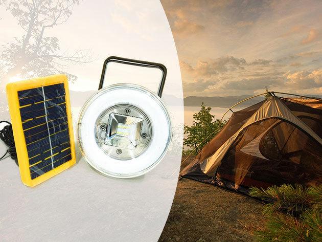 Napelemes Power Bank / külső akkumulátor hordozható reflektorral (10W, hideg fehér) - plusz energia és fény bárhol, bármikor!