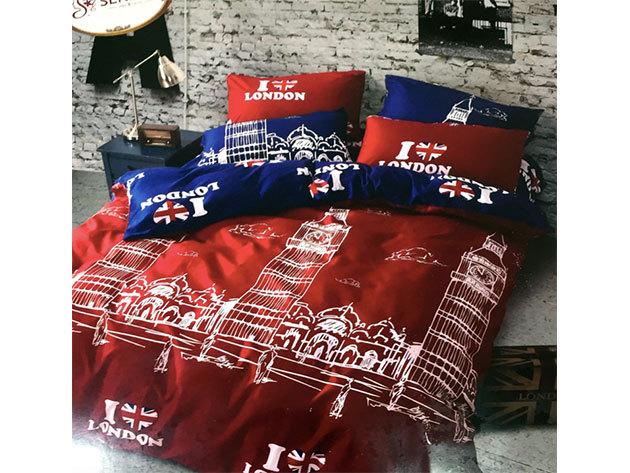 London / 3 részes ágynemű garnitúra - piros/kék (City Fashion / 5)