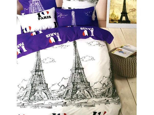 Párizs / 3 részes ágynemű garnitúra - fehér/lila (City Fashion / 8)
