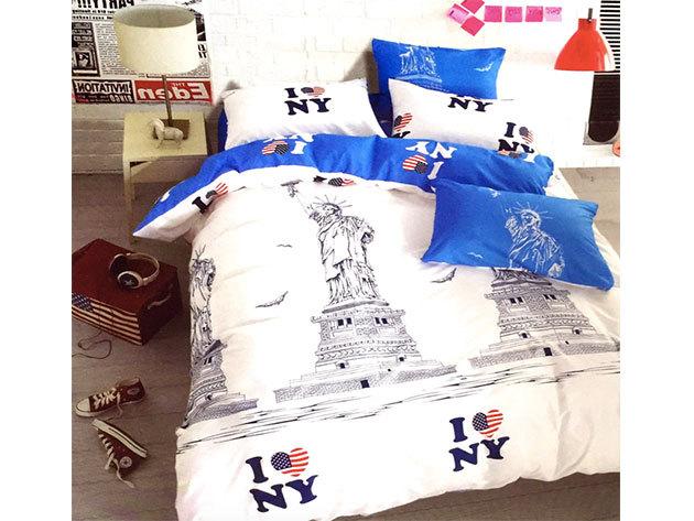 USA / 3 részes ágynemű garnitúra - fehér/kék (City Fashion / 9)